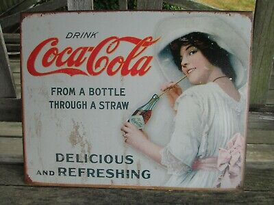 Large Coca Cola Coke Bottle /& Straw Vintage Retro Weathered Metal Tin Sign 1473