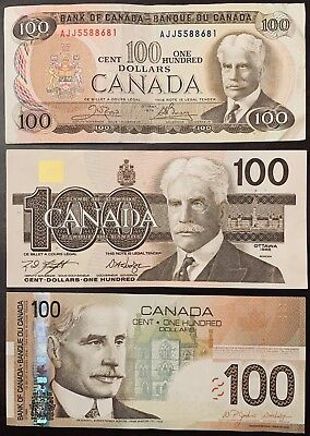 1975, 1988, 2004 - Canadian 100$ One Hundred Dollar Banknotes, Bank Of CANADA