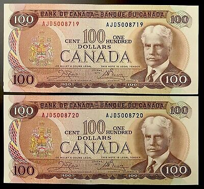 1975 - 2 Consecutive Canadian One Hundred Dollar Banknote, 100$ - Bank Of Canada