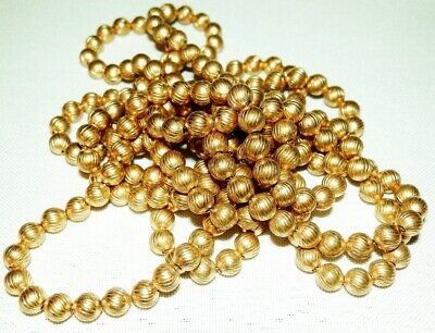"RARE 1920s 60"" Art Deco Antique Vintage Etched Brass Bead Long Chain Necklace"