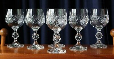 Beautiful Vintage Bohemia Crystal Wine Glasses Fine Cut With Stickers