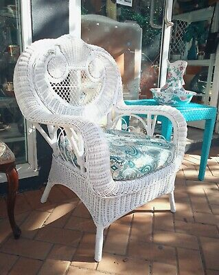 Wicker Cane Peacock Chair Refurbished Vintage Rattan