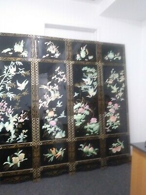 Antique Chinese Mother of Pearl 4 Panel Room Divider..Black Laquer 1940's 72 ""