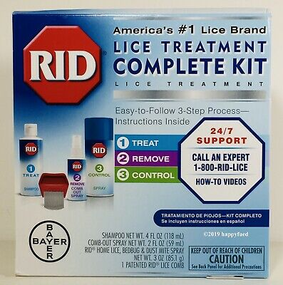 RID Lice Elimination Complete Kit Shampoo + Comb Out Spray + Home Spray MAY 2020