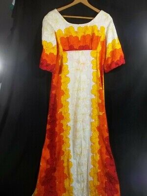 f0f3aa06a1a0 Vintage Ui-Maikai Bark Cloth Hawaiian Dress Maxi M Floral Orange Red Yellow