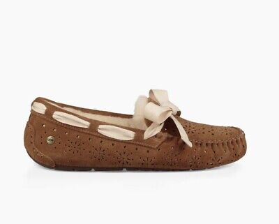 f3b44fbeab7 NIB UGG DAKOTA SUNSHINE PERF SUEDE SHEEPSKIN MOCCASIN SLIPPERS 6 37 Sold Out