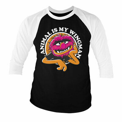 Licensed The Muppets - Animal Is My Wingman Baseball 3/4 Sleeve T-Shirt S-XXL