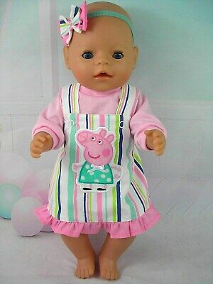 "Dolls clothes for 17"" Baby Born~Cabbage Patch Doll~PEPPA PIG STRIPED PINAFORE"