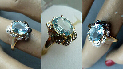 E7HJ Edler Damen Vintage Ring Aquamarin 333 Gold Damen Schmuck Design