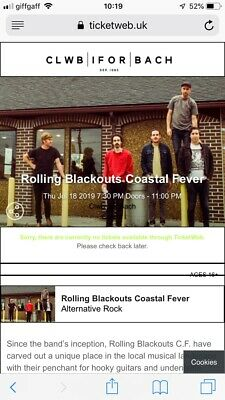 Rolling Blackouts Coastal Fever Ticket x1, CLWB IFOR BACK, 18 JULY 2019, 1930