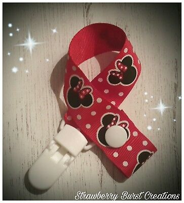 Dummy Clip/Saver Handmade Minnie Mouse Inspired Baby Gift MAM adapters available