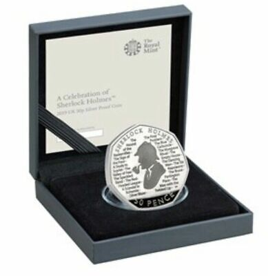 Sherlock Holmes 2019 UK 50p Silver Proof  Coin with COA and Box