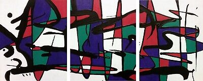 """""""Purple Abstract"""" - Original Acrylic Paintings on Canvas Board (3) piece 10 x 8"""