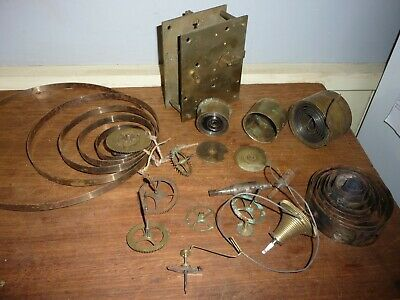 Antique Brass Fusee Clock movement . Parts only .Brass case stamped 269.