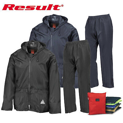 Result Mens Waterproof Windproof Heavy Duty Jacket and Trousers Rain Suit + BAG