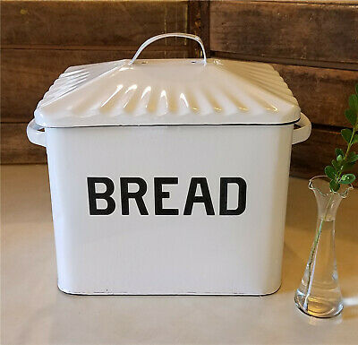 Primitive Enamel Enamelware Metal Large Bread Box Bin White Black Reproduction