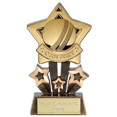 CRICKET Star Trophy FREE ENGRAVING Gold Silver Bronze Personalised Award 4.25""