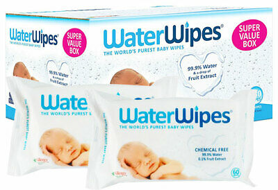 720 Waterwipes Natural Baby Pure Water Nappy Wipes Chemical Free Sensitive Skin