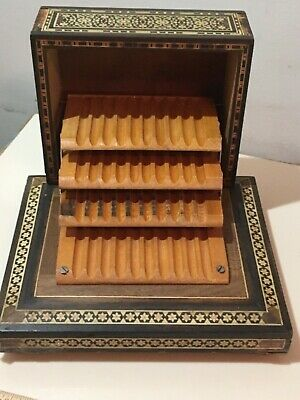 Vintage Handcrafted  Inlaid Wood Music Box Cigarette Dispenser Case