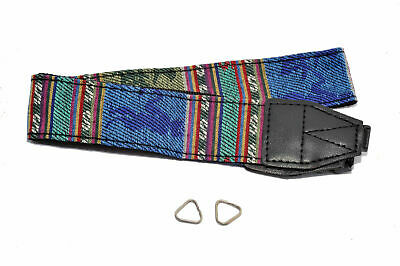 Kood Vintage Retro Style Blue Multi-colour Tapestry Camera Neck Strap + Rings UK