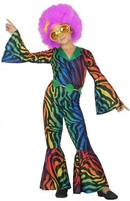 Girls Boys 1970s Rainbow Disco Jumpsuit 70's Fancy Dress Costume Outfit 3-12 yrs