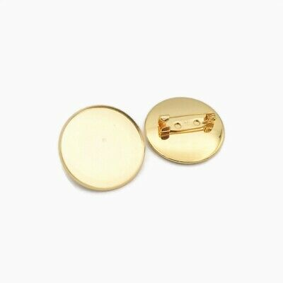 5 x Gold Tone Stainless Steel 25mm Round Cabochon Brooch Settings