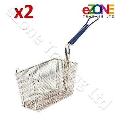 2 Frying Basket for Commercial Fryer Takeaway Restaurant Chip Fish 270x140x155mm