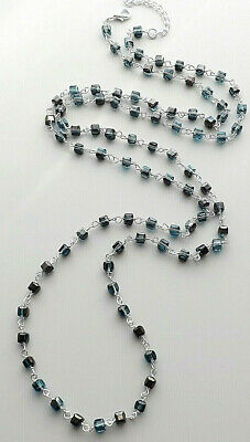 Teal green blue glass crystal cube bead necklace . silver plated square jewelry