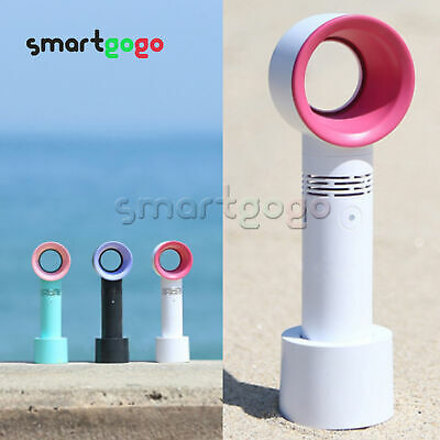 360° USB Rechargeable Portable Bladeless Fan Handheld Cooler No Leaf Handy BSG