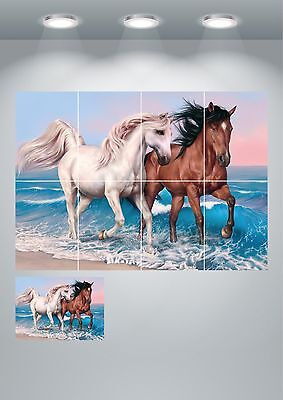 Horses Stallions Running Wall Art Poster Print A3/A4 Sections or Giant 1 Piece