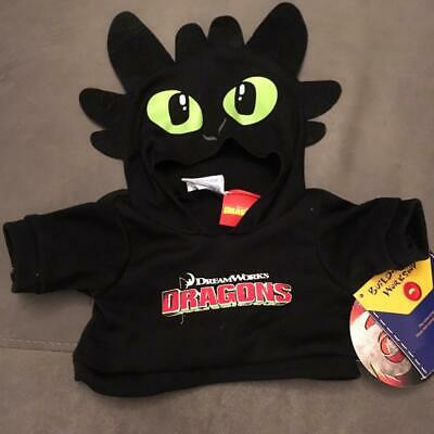 Build A Bear Factory Rare & Htf How To Train Your Dragon Toothless Hoodie Bnwt