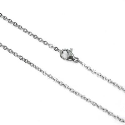 5 x Stainless Steel Fine 2mm Flat Link Chain Necklaces with Lobster Clasp