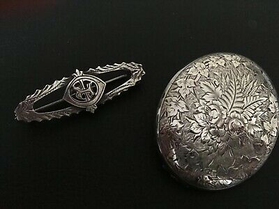 **2 x ANTIQUE *VICTORIAN*STERLING SILVER MOURNING BROOCHES/PINS*Hallmarked**