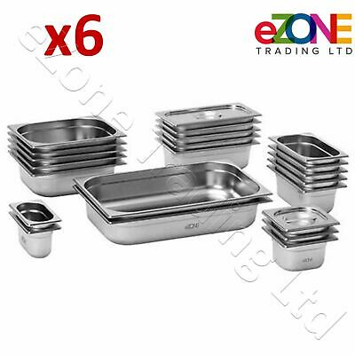 6x Gastronorm Pan Stainless Steel Gastro Container Tray Bain Marie Food Pot Lid