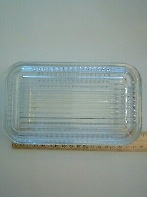 Vintage Pyrex Clear Glass Ribbed Refrigerator Dish with Lid - Replacement EUC