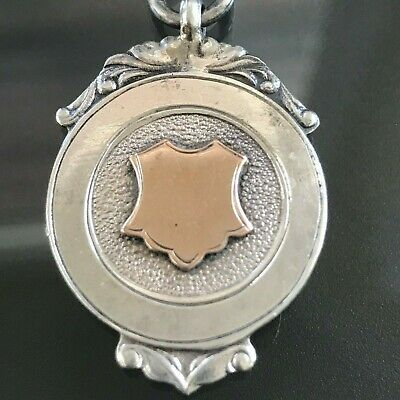 Antique Art Deco Sterling Silver Rose Gold Watch Fob  Medal 1930