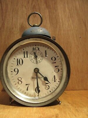 Vintage BLUE BIRD  ALARM CLOCK for RESTORE  PAT No 1563431 & 1709146
