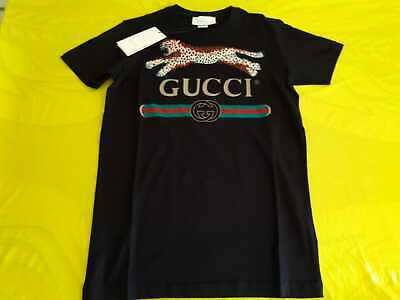 c50b9ce9b Gucci Men`s Leopard Black T`shirt %100 Cotton Nwt Casual Short Sleeve