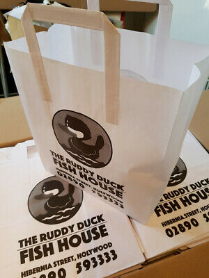 MISPRINTED,WHITE KRAFT CARRIER BAGS 250X140X300MM WITH HANDLES - 500 bags/ORDER