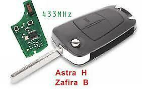NEW 2 BUTTON FLIP REMOTE KEY FOB for VAUXHALL/OPEL ASTRA H, ZAFIRA B, 433Mhz.