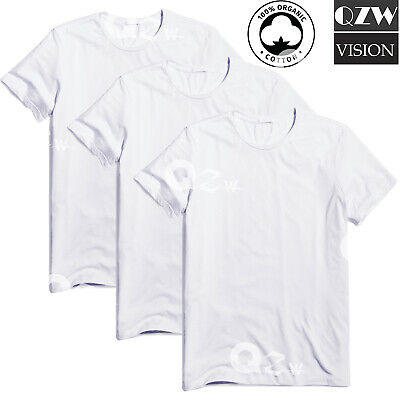3-6 Pack Mens 100% Cotton Tagless Round T-Shirt Undershirt Tee White New