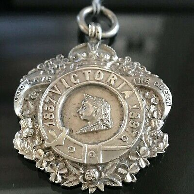 Antique Victorian 60th Anniversary Sterling Silver Watch Fob  Medal 1896