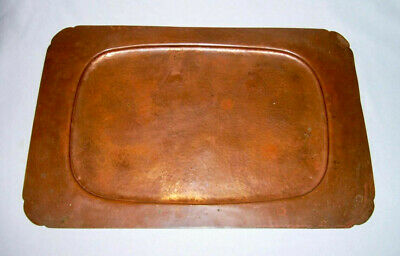 "Beautiful Vintage Solid Hammered Copper Rectangular 18""x12"" Large SERVING TRAY"