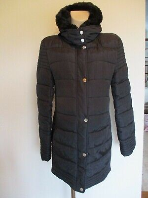 New Look Maternity Black Quilted Coat Mac Jacket Size 10