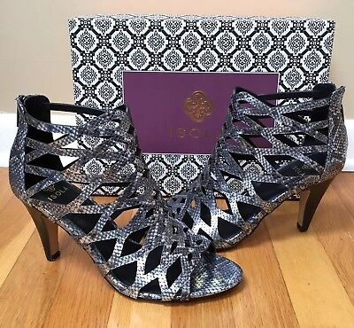 5ce24c24629 VERSACE SILVER LEATHER Snake Crystal Caged Sandals Shoes 38 8 ...