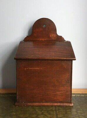 Antique 18th Century Georgian Oak Salt Or Candle Box