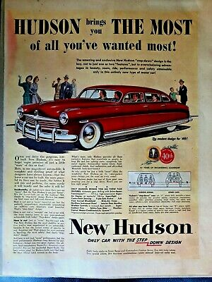 1949 Hudson Hornet Auto Car Advertising Newspaper Vintage Original