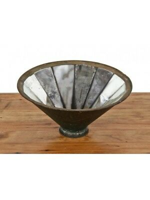 20Th C Industrial Frink Steel Reflector With Silver-Plated Glass Interior