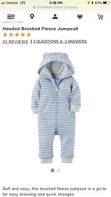 f7bc56d52 Carter's Baby Boy Hooded Brushed Fleece Jumpsuit blue/gray size 9 months  NWT!