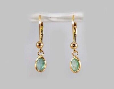 Gold Emerald Earrings 1ct Antique 19thC Ancient Christian Sumer Immortality